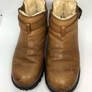 Brown Leather / Shearling Fur Ankle Boots Women's